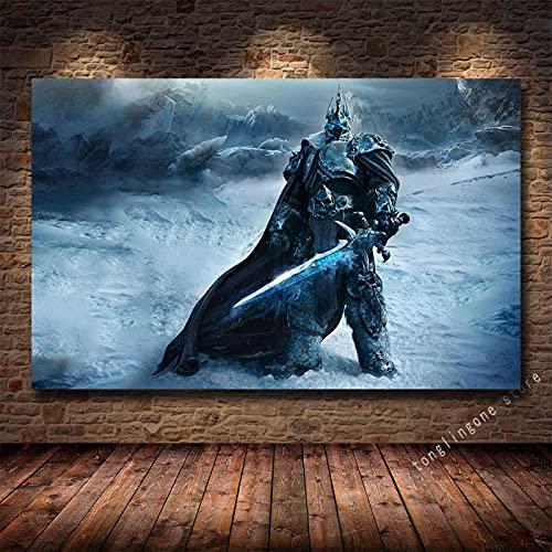 LGYJAL Pinturas en Lienzo Impresiones Póster Artístico Teldrassil Burning World of Warcraft Battle For Azeroth Juego Cuadros de Pared Decoración del hogar 50x70 cm U-498
