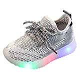 Toddler Girl Shoes Baby Boys Soft Knit Slip on Sneakers LED Light Up Luminous Mesh Sport Walking Shoes (12-18Months, Gray)
