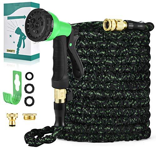 Tuyau arrosage extensible30M -100FT Tuyaux Flexi Buse de pulvérisation à 8 modèles Tuyaux de tuyau Magic avec support de tuyau / sac de rangement (Vert noir)
