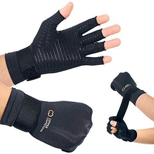 Copper Compression Arthritis Gloves with Adjustable Strap - Guaranteed Highest Copper Content. Best Copper Glove for Carpal Tunnel, Arthritis, and Support for Wrists and Hands for Women and Men 1 Pair