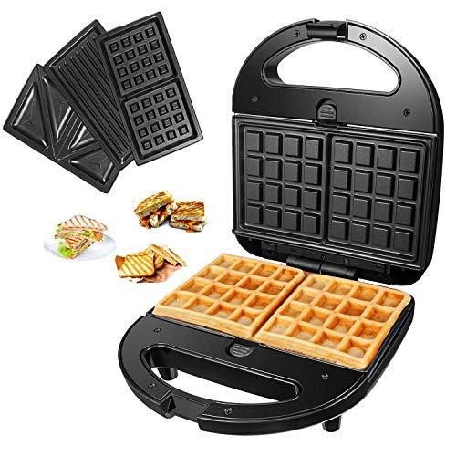 Macchina per waffle con 3 piastre rimovibili, rivestimento antiaderente, per cucina, waffle, tostapane con indicatore LED, 800 W, in acciaio inox nero per tostapane, waffle carne.