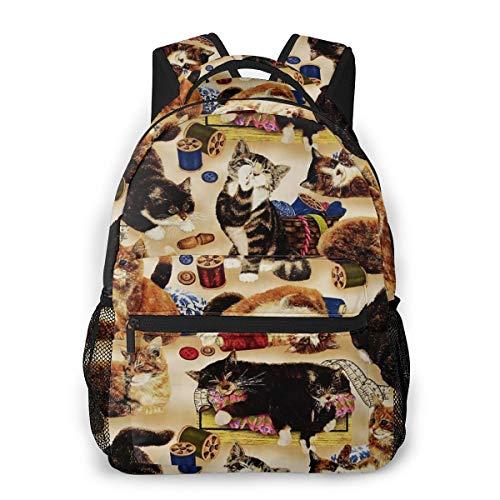 好奇心の強い猫と縫製概念を縫う バックパック リュック メンズ レディース 学生 男女兼用 防水 アウトドア カジュアル デイパック 多機能 収納 通勤 通学