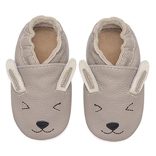 Baby Lauflernschuhe Jungen Mädchen Weicher Leder Krabbelschuhe Kleinkind Babyhausschuhe Rutschfesten Wildledersohlen(Graues Kaninchen, 6-12 Monate)