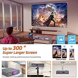 "Mini Beamer, OTHA DLP Beamer 3000 Lumen Projektor 300"" Display, Unterstützung 1080P/4K Video, ±45° Elektronische Korrektur, Dual Lautsprecher, Wi-Fi, HDMI, Heimkino Travel 3D Beamer"