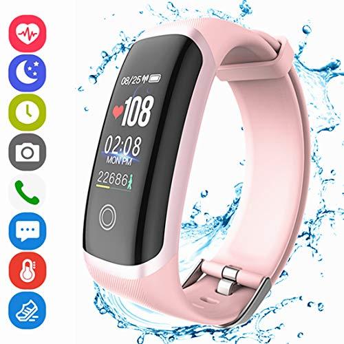 Hocent Fitness Armband Smart Tracker Aktivitätstracker mit Pulsmesser Schrittzähler Uhr Farbbildschirm IP67 Wasserdicht Anruf SMS SNS Erinnern für Männer Frauen Kinder Kompatibel mit Android IOS