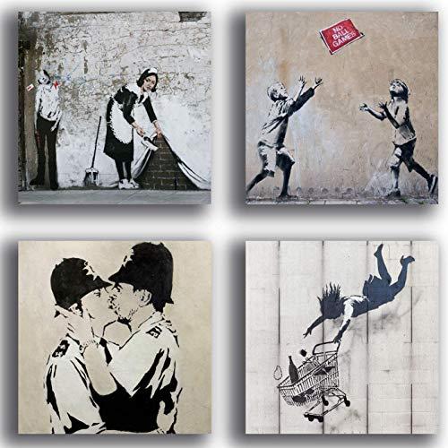 Printerland Cuadros modernos estilo Banksy 4 piezas 30 x 30 cm Decoración Arte Abstracto XXL Decoración para Salón Dormitorio Cocina Bar Restaurante Madera Impresión sobre lienzo