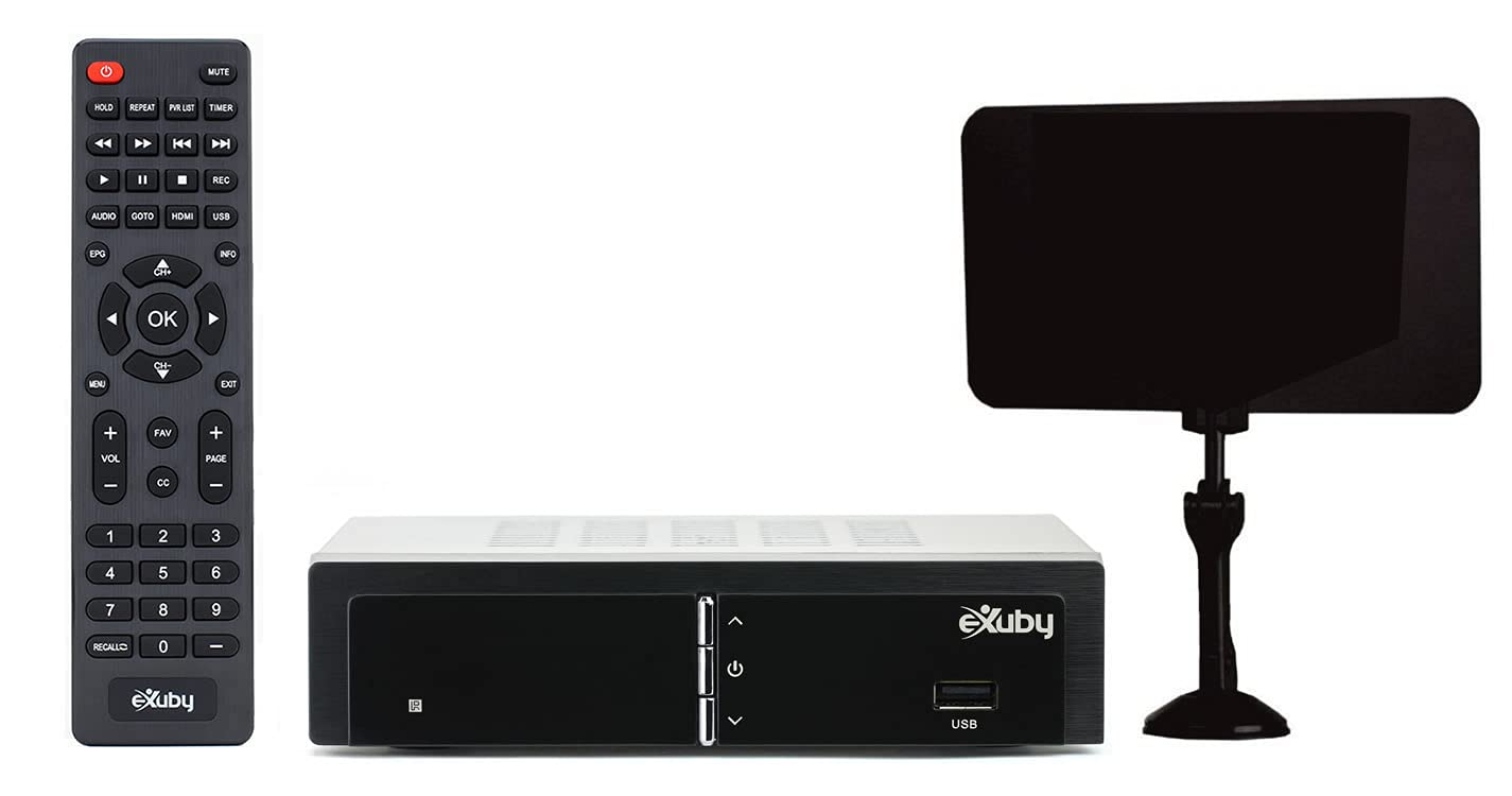 Exuby Digital Converter Box for TV w/Flat Antenna for Recording and Viewing Full HD Digital Channels Free (Instant or Scheduled Recording, 1080P HDTV, HDMI Output, 7 Day Program Guide and LCD Screen)
