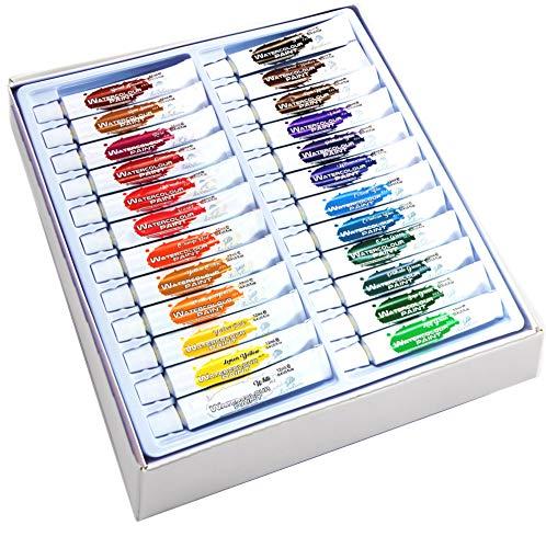 DAVELIOU Watercolor Paint Set - 24 Non-Toxic Watercolor Paints 12ml -...