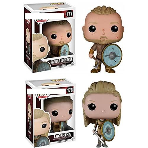 2 Unids / Set Figuras De Anime Pop Vikingos Ragnar Lothbrok # 177 Lagertha # 178 PVC Colección De Figuras De Acción Adornos Modelo 10 Cm