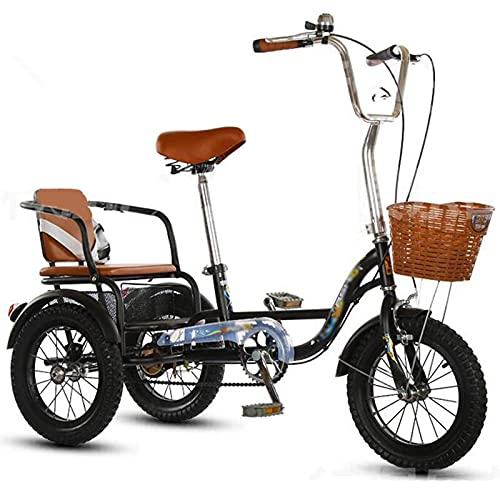 Triciclo para adultos bicicleta Adulto Triciclo Bici Del Pedal De Deportes Al Aire Libre Del Triciclo Para Adultos Con El Asiento Trasero Para Que Los Padres Recoger Y Dejar Fuera(Size:16Inch,Color:A)