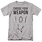 A&E Designs Clue T-Shirt Choose Your Weapon Athletic Heather Tee, Medium