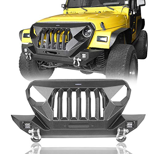 Hooke Road Wrangler TJ Mad Max Bumper w/ 2x 18W LED Lights Compatible with Jeep TJ Wrangler 1997-2006 (Textured Black Steel)