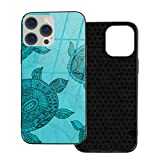 Funda protectora compatible con iPhone 12 / iPhone 12 Pro Case Beach House Sea Turtle Phone Cases/Cover Carcasa de vidrio templado