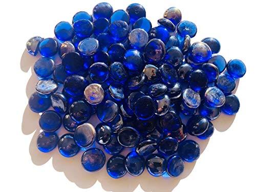 Rhinestone Paradise glazen stenen sierstenen ca. 130 stenen kobaldblauw blauw 2 cm platte stenen nuggets rond deco stenen glitterstenen mozaïek