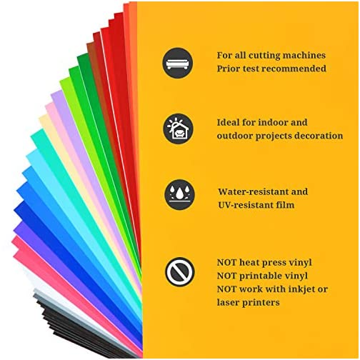 """TECKWRAP Permanent Adhesive Vinyl Sheets 12"""" x 12"""" 40 Sheets/Pack Assorted Colors for Craft Cutters  """
