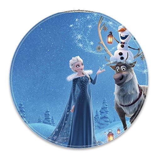 N\A Alfombrilla de ratón Bordes cosidos Redondos Anna Disney Elsa Hielo Helado Olaf Reno Nieve Invierno Proteger