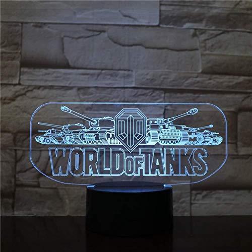 3D Illusion World of Tanks Lampe LED avec capteur tactile 7 lampe couleur Chambre chevet acrylique Bureau décoratif Lampe Kids Festival cadeaux d'anniversaire de charge USB lumière de nuit
