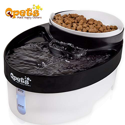 QPets 2 in 1 Water Fountain & Food Bowl Pet Feeder Dispensor with Filters for Dog, Cat & Other Small Pets