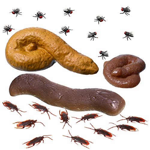 3 Pieces of Novelty Fake Pop with 10 Pieces Roach and 10 Piece Fly, Fake Poop Floats on Water, Gag Gift, Prank Gift, 3 Realistic Poop Designs, Fake Turd for Real Laughs