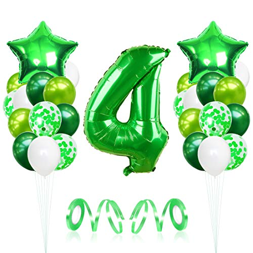 Bluelves Palloncini Compleanno 4 Anno, Palloncino Numero 4, Decorazioni Compleanno 4 Anno, Palloncini Giganti Grandi, Compleanno Decorazione Verdi