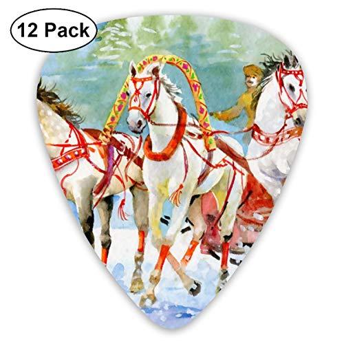 Gitaar Pick Waterkleur Paard Vervoer Buiten Folk Schilderen 12 Stuk Gitaar Paddle Set Gemaakt Van Milieubescherming ABS Materiaal, Geschikt voor Gitaren, Quads, Etc