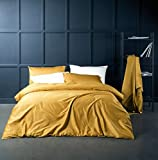 Solid Color Egyptian Cotton Duvet Cover Luxury Bedding Set High Thread Count Long Staple Sateen Weave Silky Soft Breathable Pima Quality Bed Linen (King, Mustard Yellow)