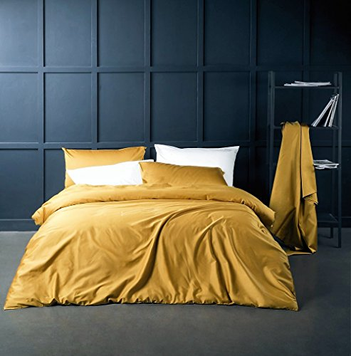 Eikei Solid Color Egyptian Cotton Duvet Cover Luxury Bedding Set High Thread Count Long Staple Sateen Weave Silky Soft Breathable Pima Quality Bed Linen (King, Mustard Yellow)