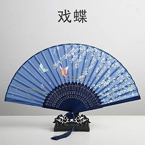 XIAOHAIZI Folding Fan Handheld, Zomer Chinese Stijl Women'S Bamboe Fan Donker Blauw Holle Plant Bloem Vintage Folding Fan Geschikt voor Bruiloft Lady Gift Dance Fan Subway Folding Fan