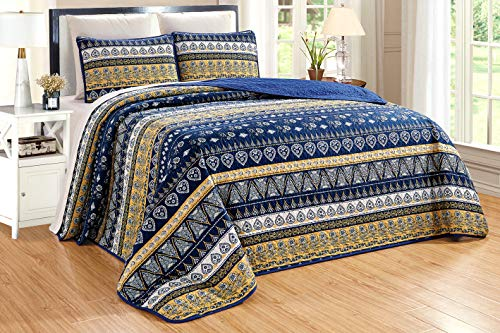 """GrandLinen 3-Piece Fine Printed Oversize (115"""" X 95"""") Quilt Set Reversible Bedspread Coverlet King Size Bed Cover (Navy Blue, Gold, Yellow Stripe)"""