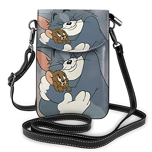 XCNGG Monedero pequeño para teléfono celular Women's Small Crossbody Bag with Shoulder Strap,Tom hugs Jerry Small Cell Phone Purse Wallet with Credit Card Slots