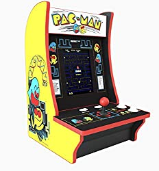"""Table Arcade Terminal 2 games in 1 PAC-MAN Hyperrealistic Joystick and Arcade Buttons 8"""" LCD screen Parts free Volume control On-screen game selection menu Plugs into a mains outlet"""