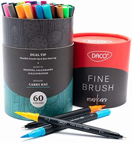 DACO Fine Brush Art Markers 60 Colors Dual Brush Pens Both Fine Tip Brush Tip Mess Free Markers product image