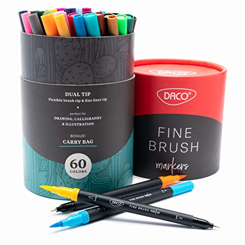 DACO Dual Tip Fine Brush Markers, 60 Colors, for Calligraphy, Bullet Journal Art, Adult Coloring...
