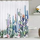 Alishomtll Duschvorhang Textil Duschvorhang Stoff mit Ringen 175x178cm, Kaktus Muster Pflanze Duschvorhang Badewanne 3D Digitaldruck Polyester Anti Schimmel, Grün