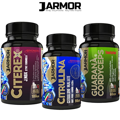 Jarmor 3 Integratori: Citerex, Citrullina, Guaranà Cordiceps | Testosterone Massa Muscolare Forza