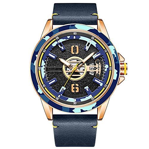 WNGJ Relojes para Hombres, Relojes para Hombres con Calendario, Relojes de Cuarzo, Relojes Luminosos Grandes, Relojes de Impermeables de Moda de Ocio al Aire Libre multif Blue