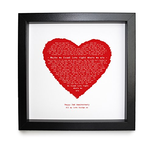 """Druck mit Songtext von """"Thinking Out Loud"""" von Ed Sheeran, in Herzform, mit Rahmen, Rahmengröße: 23x23cm, personalisierbar"""