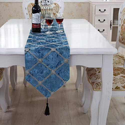 Camino de mesa y manteles individuales, de cuadrados, de Lujo, azul, 28cm x 180cm(11' x 70')
