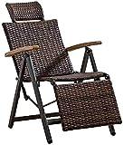 MLL Tumbonas de jardín, Tumbona de Interior para Exteriores, Mecedora de Mimbre de ratán, sillón de salón Ajustable de Gravedad Cero, sillones reclinables Vintage para Patio, Piscina, terraza, hogar