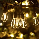 LUKASUMI LED Outdoor String Lights, 51Ft Patio Lights Hanging for Garden Backyard Porch Lighting with 15+1 Commercial Grade Waterproof Plastic Edison Vintage Bulbs, Wedding Party Lights