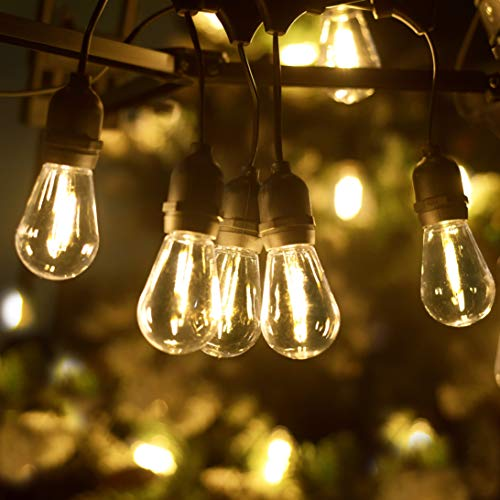 LUKASUMI LED Outdoor String Lights, 51Ft Patio Lights Hanging for Garden Backyard Porch Lighting with 15+1 Commercial Grade Waterproof Plastic Edison Vintage Bulbs, Warm Yellow Party Lights