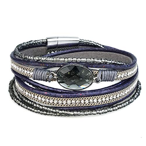 Suyi Women Wrap Bracelet Multilayered Leather Braided Bangle Wrist Cuff Bangles with Magnetic Buckle Purple