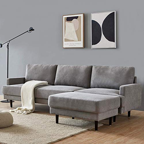 DADEA Ecksofa mit Schlaffunktion, Eckcouch Couch mit Schlaffunktion und Bettkasten Ottomane L-Form Schlafsofa Bettsofa Polstergarnitur, Modern Fabric Sofa,...