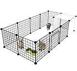 HOMIDEC Pet Playpen,Small Animals Cage with Door,Indoor/Outdoor DIY Metal pet Fence for Puppy,Rabbit,Kitten,Guinea Pig,Turtle,Hedgehog,Black(140x70x35CM)