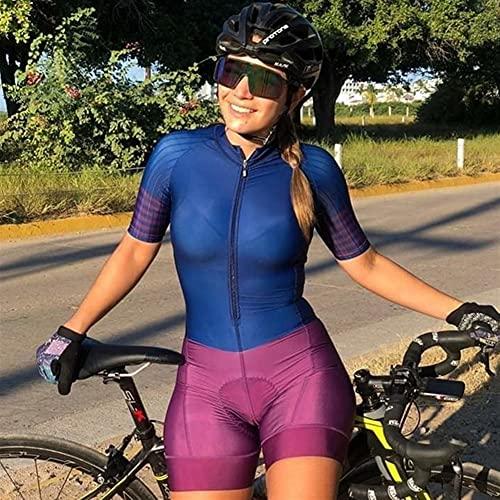 Triathlon Frauen Radfahren Sets Overall Kurzarm Fahrrad Jersey Pro Anzug Fahrrad Skinsuit Team Rennuniform Gel Pad (Color : 7, Size : XXXX-Large)