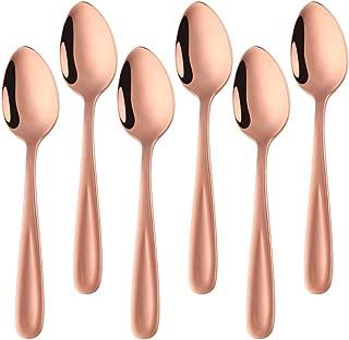 Bisda Demitasse Espresso Spoons, 18/10 Mini Coffee Spoon Stainless Steel Teaspoons Set of 6, 5.5 Inch (Rose Gold)