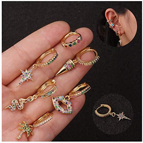 QYY 6 Pares Pendientes aro Dorados Ronda Huggie Pequeños Aros Circoniña Cartilage Arete Pequeños Pendientes de Antialérgicos Joyas de Moda para Mujer A