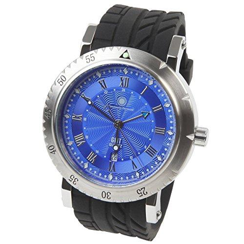 Constantin Durmont Herren Analog Quarz Uhr mit Kautschuk Armband CD-STRI-QZGMT-RB-STST-BL