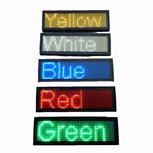Youji LED Programmierbare Scrolling Name Tag Badge-Red Nachricht Display Board Digital Moving Zeichen USB aufladbare ID-Tag für Restaurant Shop Ausstellung Nightclub Hotel