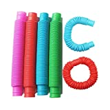 Fidget Pop Tube Toys for Kids and Adults,Pop Multi-Color Tubes (Toobs) Sensory Toy - 6 Pack